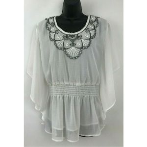 Romeo & Juliet Couture White Boho Bell Blouse sz L